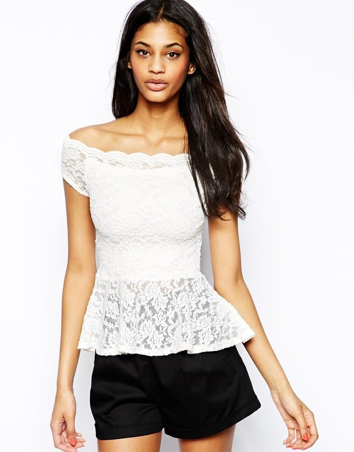 Lipsy White Lace Off-the-Shoulder Peplum Top