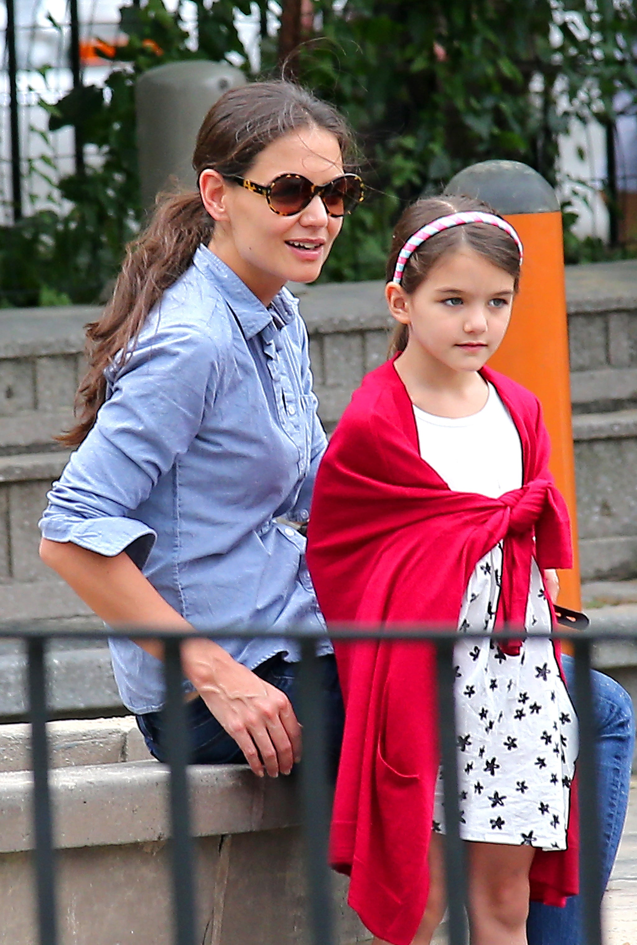 Katie Holmes took Suri Cruise to the park in NYC.