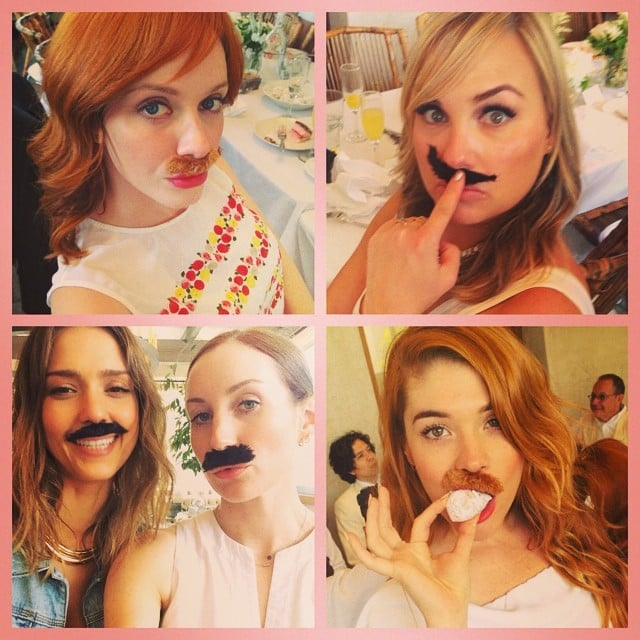 This is what happens when Jessica Alba, Christina Hendricks, and fake mustaches meet. Source: Instagram user jessicaalba