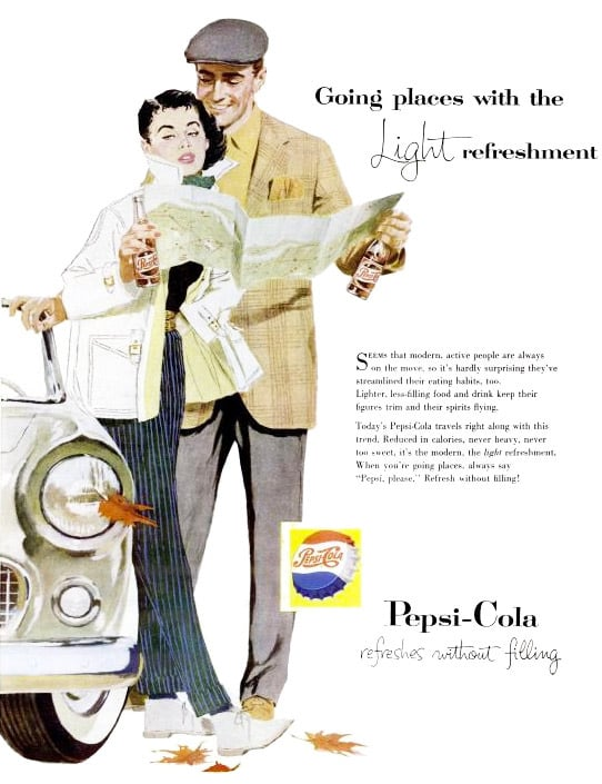 """For people """"always on the move,"""" grab a """"light refreshment"""" . . . you know, like a sugary, caffeinated, carbonated soda."""