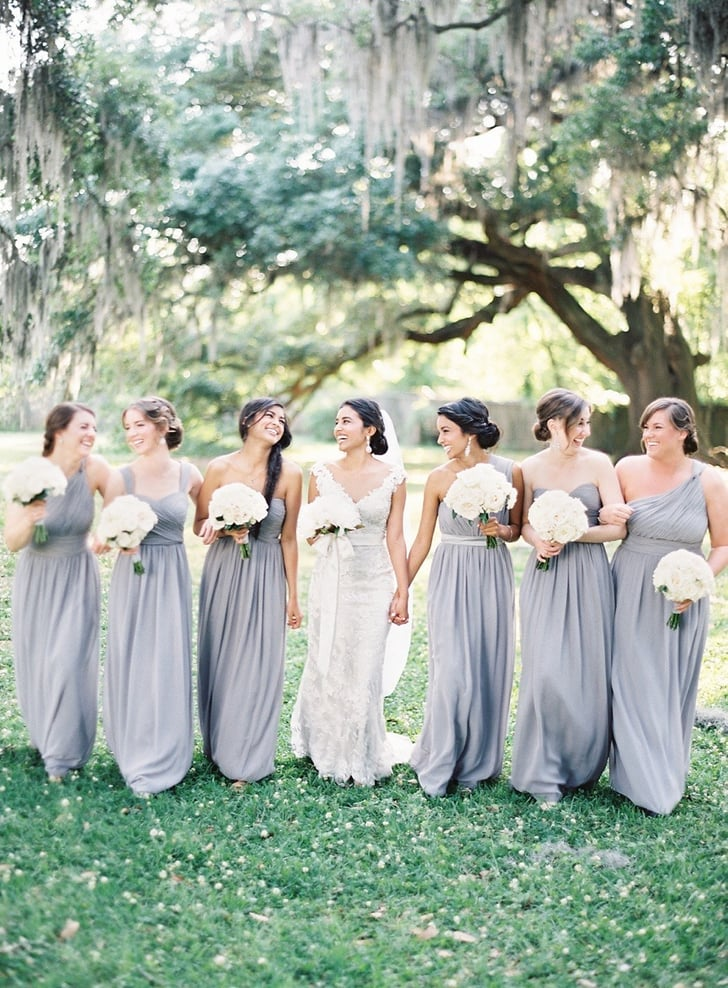 The bridesmaids wore gray but each dress was bright in for Gray dresses for a wedding