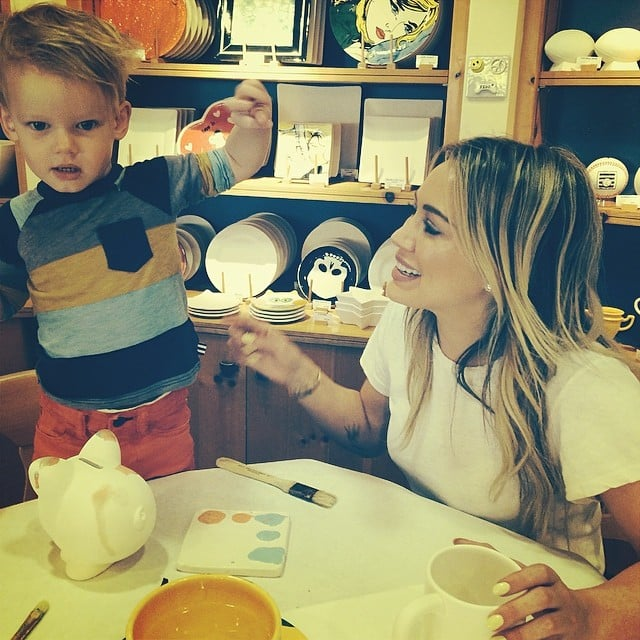 Hilary Duff and her son, Luca, had an adorable painting party.  Source: Instagram user hilaryduff