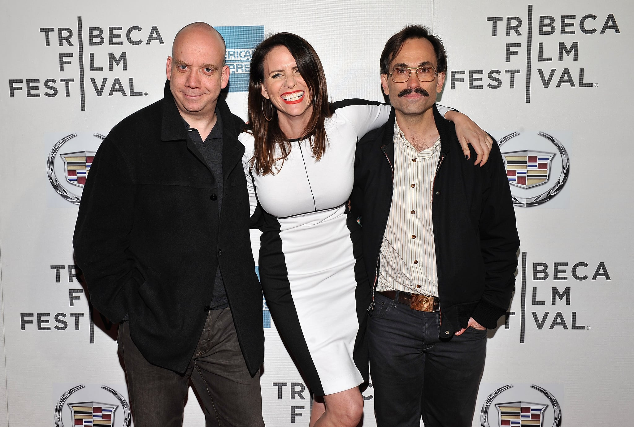 Paul Giamatti posed with Amy Landecker and director Phil Morrison before an Almost Christmas screening.