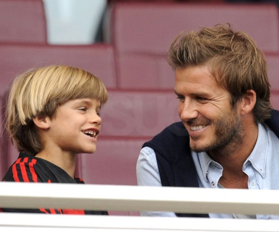 Slide Picture of David Beckham and Romeo at Soccer Match in London