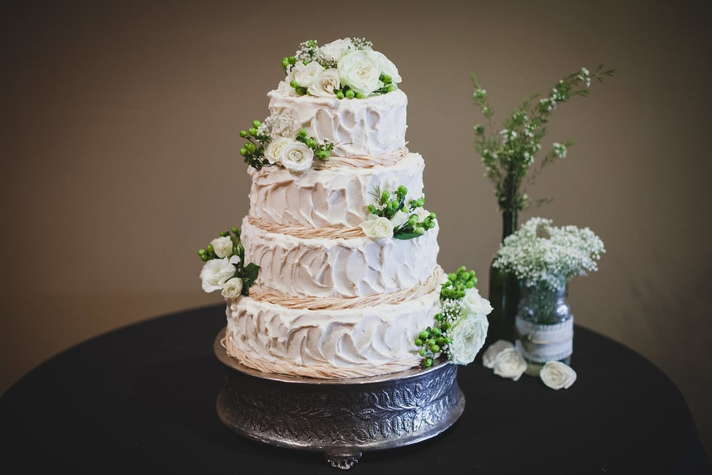 The leaf texture of the frosting on this is so subtly mirrored via the cake plate, you might not notice it at first — but once you do, you realize what a sweet touch it adds.