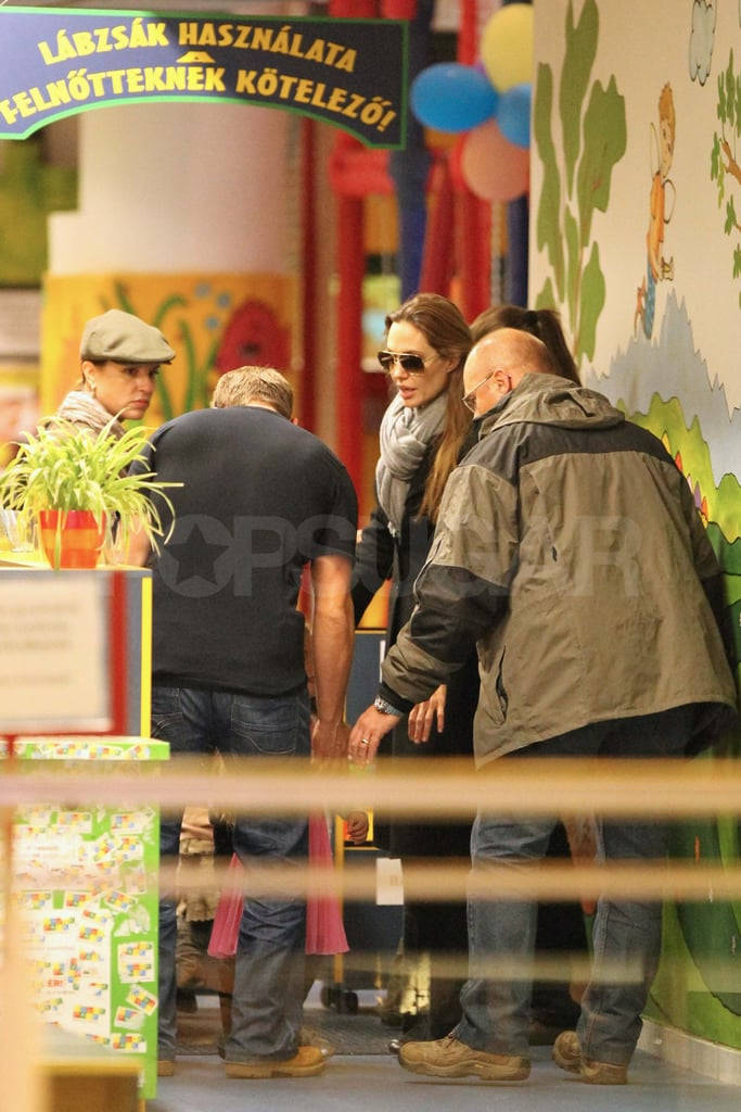 Angelina Jolie at the mall in Hungary.