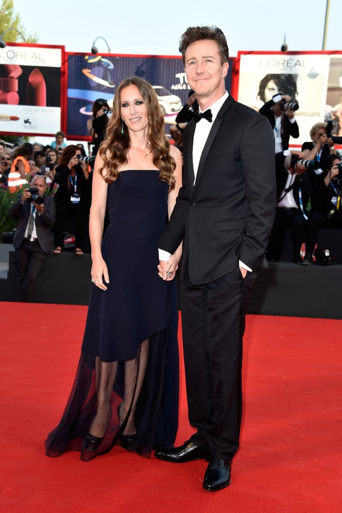 Edward Norton and Shauna Robertson held hands on the carpet at the opening ceremony.