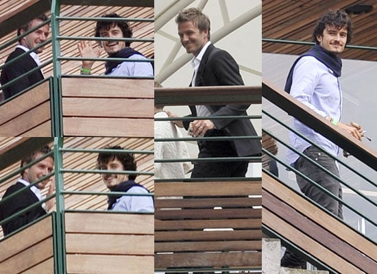 Pictures of David Beckham and Orlando Bloom Chatting at Wimbledon