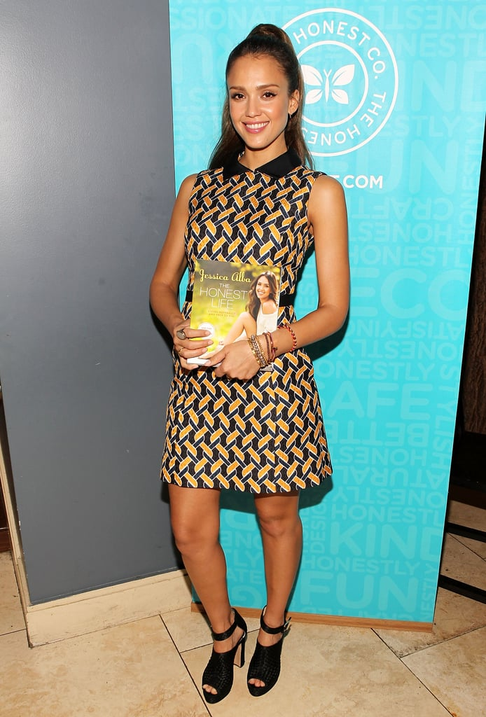 Jessica Alba got graphic in a geometric-print collared dress and black Bionda Castana satin heels at a signing for her book, The Honest Life.