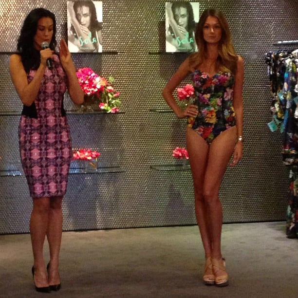 Megan Gale gave her models a run for their money as they showed off her new Isola collection.