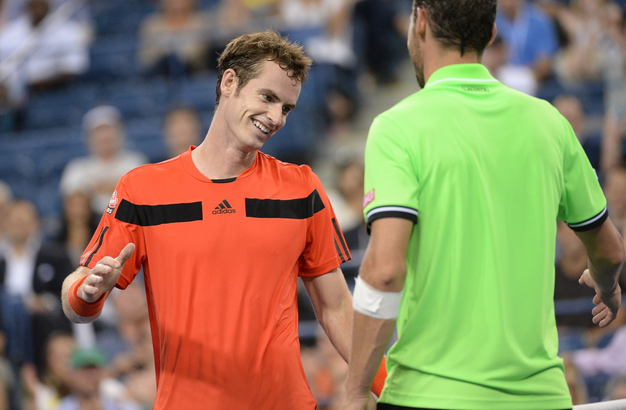 Andy Murray was all smiles after winning his men's singles match.