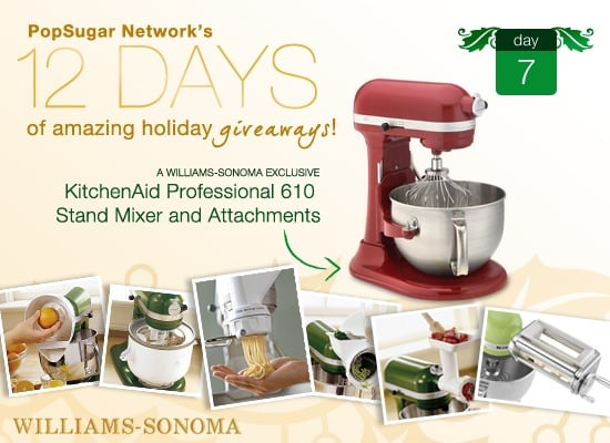12 Days of Holiday Giveaways, Day 7: KitchenAid Professional Stand Mixer and Attachments From Williams-Sonoma!