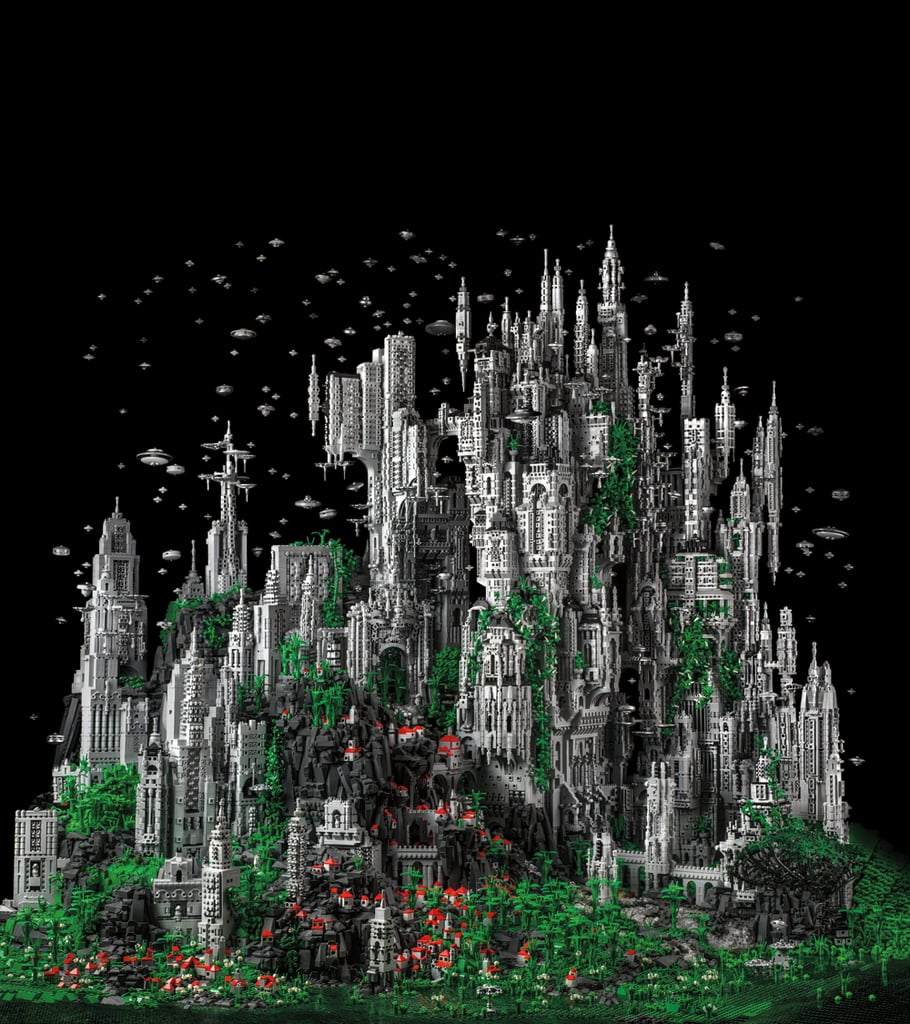 """The book's pièce de résistance — and cover subject — is Mike Doyle's """"Contact 1"""" a futuristic cityscape built of 200,000 Lego bricks. Source: Contact 1: The Millennial Celebration of the Eternal Choir at K'al Yne, Odan (2013) © Mike Doyle"""