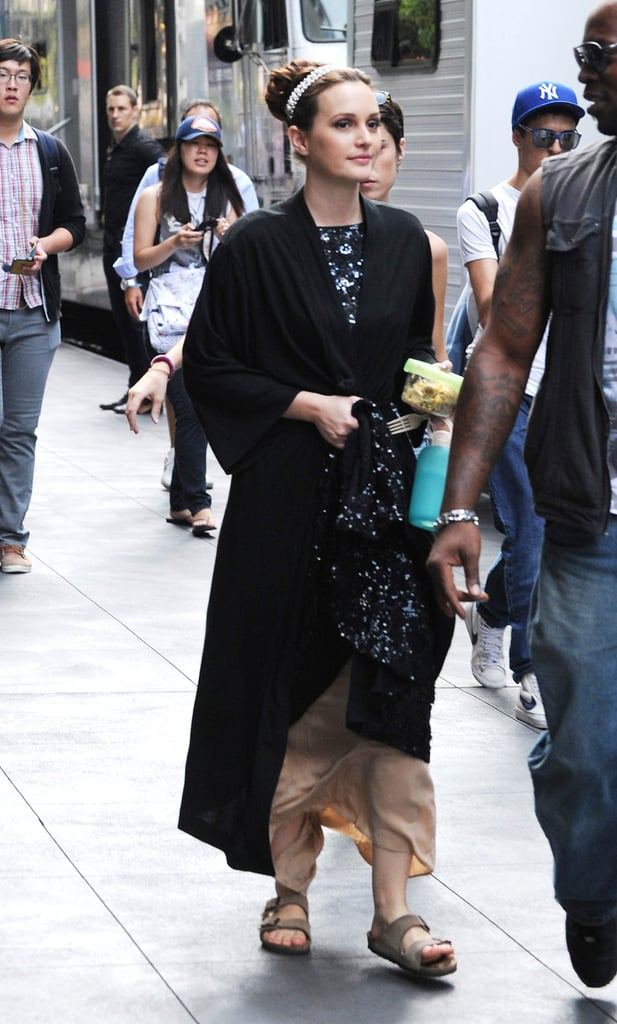 Leighton Meester was dressed up on the set of Gossip Girl in NYC.