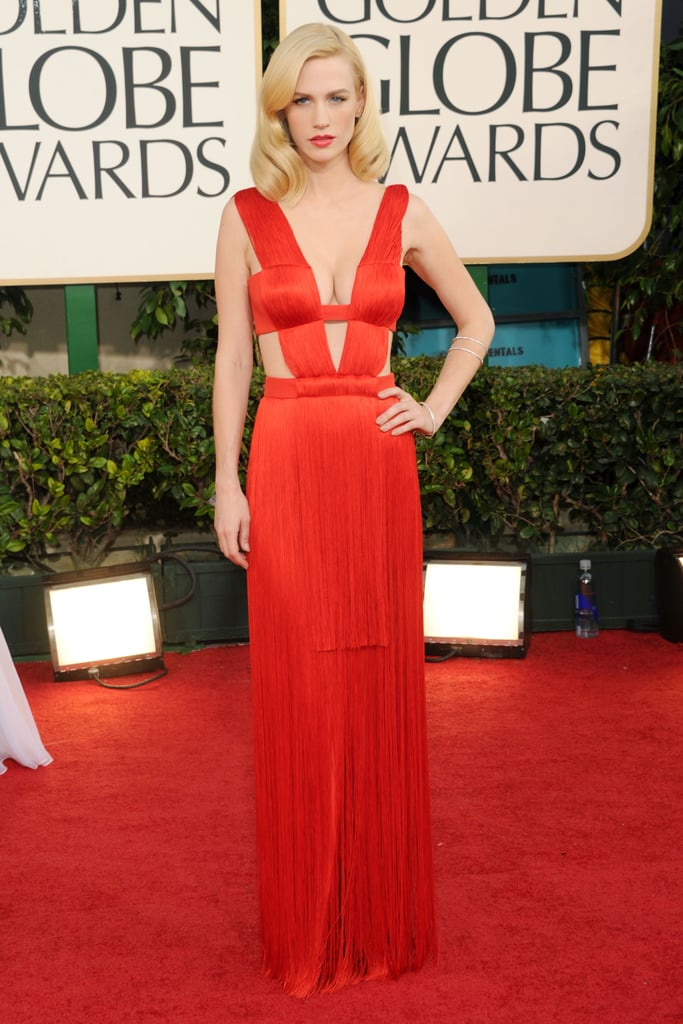 We couldn't get enough of January Jones in her red-hot Versace gown.