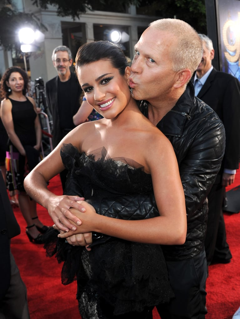Lea got a cute smooch from Glee creator Ryan Murphy at the red carpet premiere of their 3D concert movie in LA in August 2011.