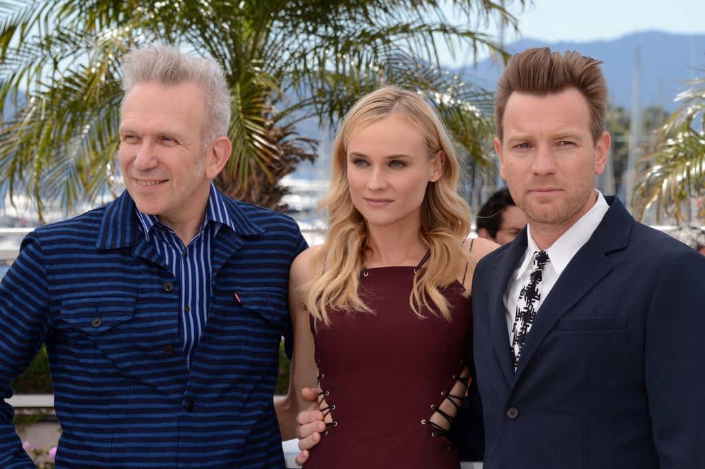 Diane Kruger posed between Ewan McGregor and Jean Paul Gaultier at the Cannes Film Festival.