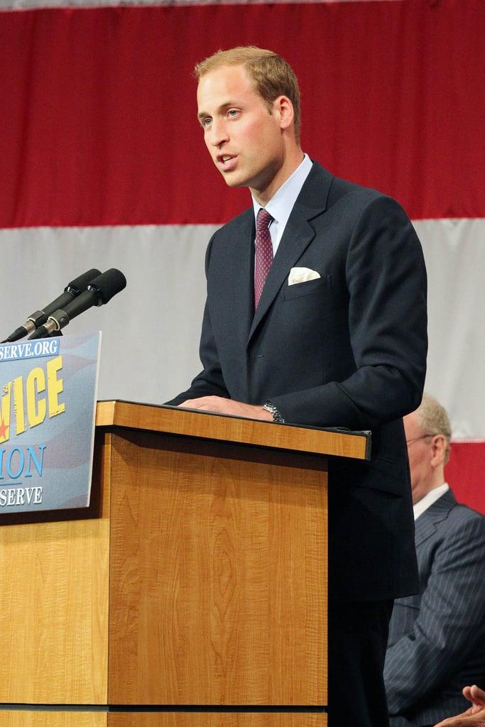 Prince William speaks at ServiceNation event in LA.