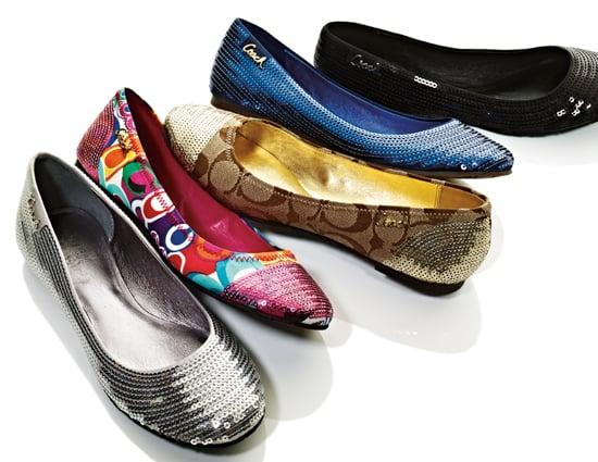Coach Shimmer Flats ($148)  Sequins Rubber sole  Coach Shine Flats ($138)   Pop C, Ocelot, or Classic Signature print  Sequin heel and toe cap