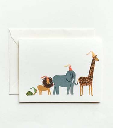 """A sweet way to say """"thank you"""" after a big birthday, Rifle Paper Co.'s  animal parade cards ($18 for a box of eight) feature whimsical designs by the incredibly talented Anna Bond."""