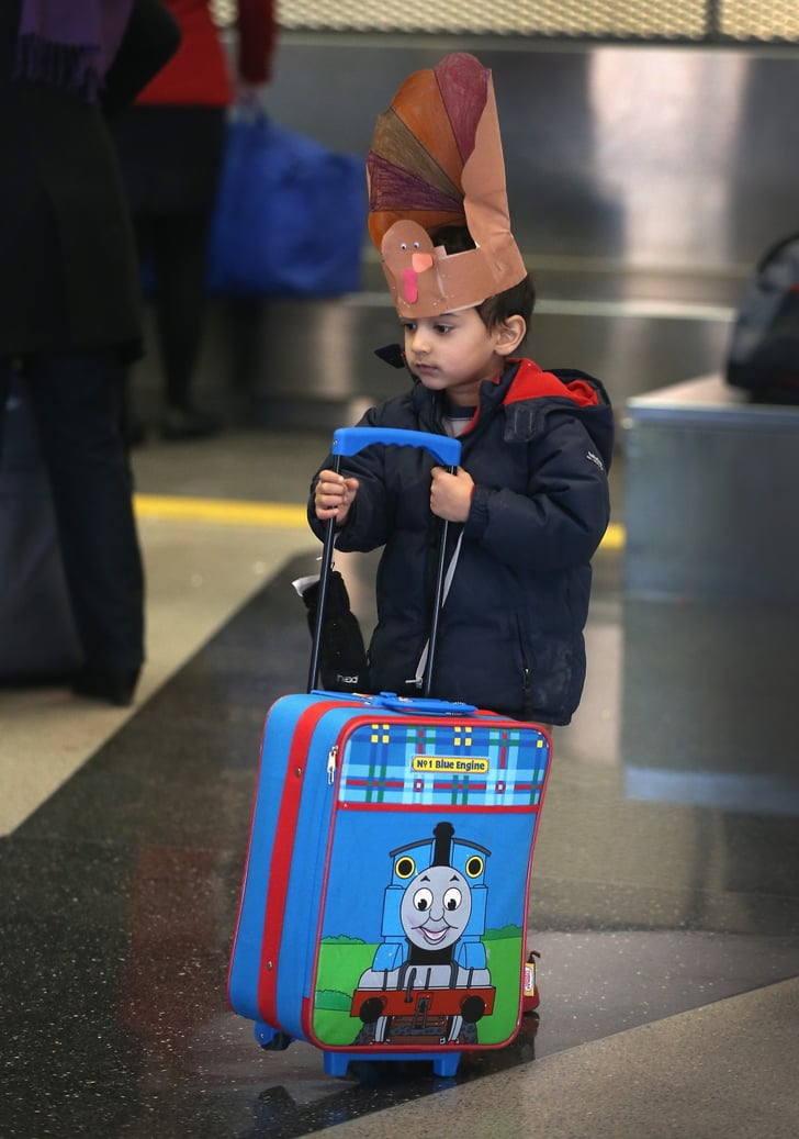 In Chicago, a little guy waited for his parents to check in.