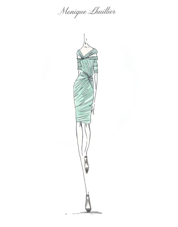 Monique Lhuillier Winter Mint Mist Dress Sketch