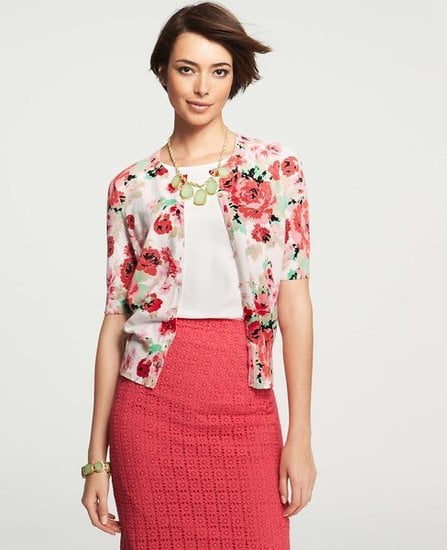 Ann Taylor's Floral-Print Crewneck Cardigan ($78) will be a sweet staple in Mom's Summer wardrobe.