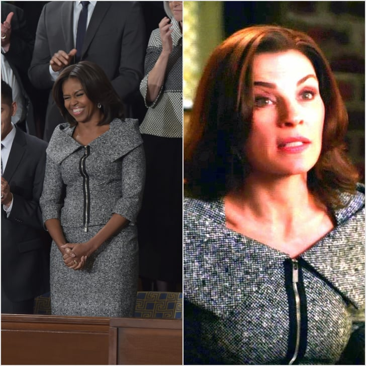 The FLOTUS chose a gray, zipper-embellished Michael Kors suit that felt equal parts sporty and demure.