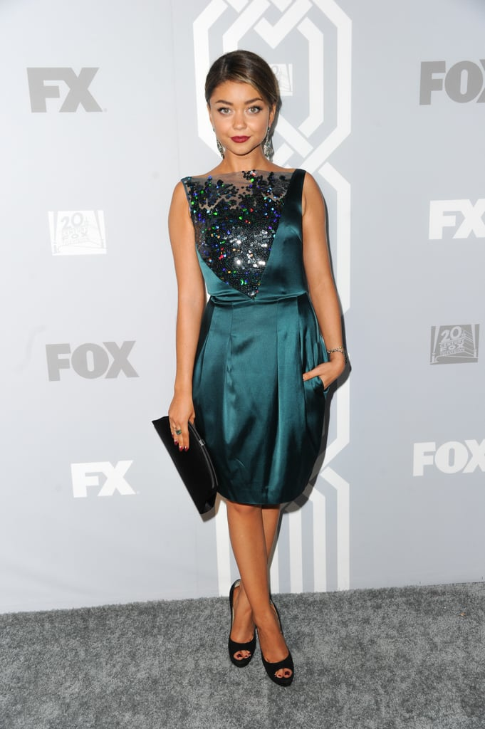 Sarah Hyland stepped out for Fox's afterparty in an embellished Talbot Runhof.