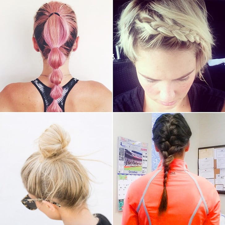 best hairstyles for your workout popsugar fitness