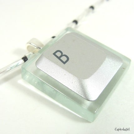 Computer Key on Glass Tile Pendant: Geeky-Gorgeous!