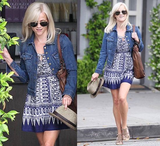 Reese Witherspoon Wears Jean Jacket and Summer Dress at Neil George Salon