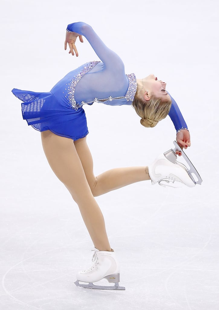 POPSUGAR: How do you decide on your hair and makeup for a competition? Is it based on your costume or the routine?  Gracie Gold: It is based on both. Everything is based on your choice of music and your choice of choreography. If you are skating to the Titanic or an Irish dance or an Egyptian Cleopatra, all of those looks are going to be totally different! Each skater is also different on how they want to emulate that piece of music they skate to. For my short program this year, we are emulating Grace Kelly — a classic timeless beauty — so we went with a slicked-back, big, high bun, a classic red lip, and neutral makeup with big lashes! PS: When you're skating in competition, you have to keep your hair out of the way. What are your favorite updos to wear on the ice?  GG: My favorite updos would be the Hunger Games-inspired french braid that wraps around. That is really fun on the ice! I also like a big, high, classic ballet bun — the bigger the better!