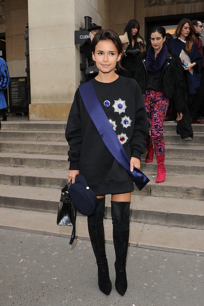 Miroslava Duma outside the Elie Saab Haute Couture show.