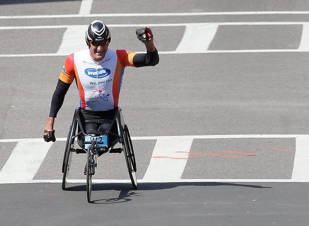Ernst van Dyk celebrated after winning the men's wheelchair division.