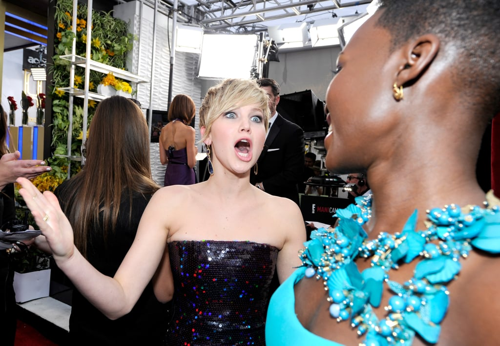 Jennifer Lawrence couldn't contain her excitement for Lupita Nyong'o on the red carpet in 2014.
