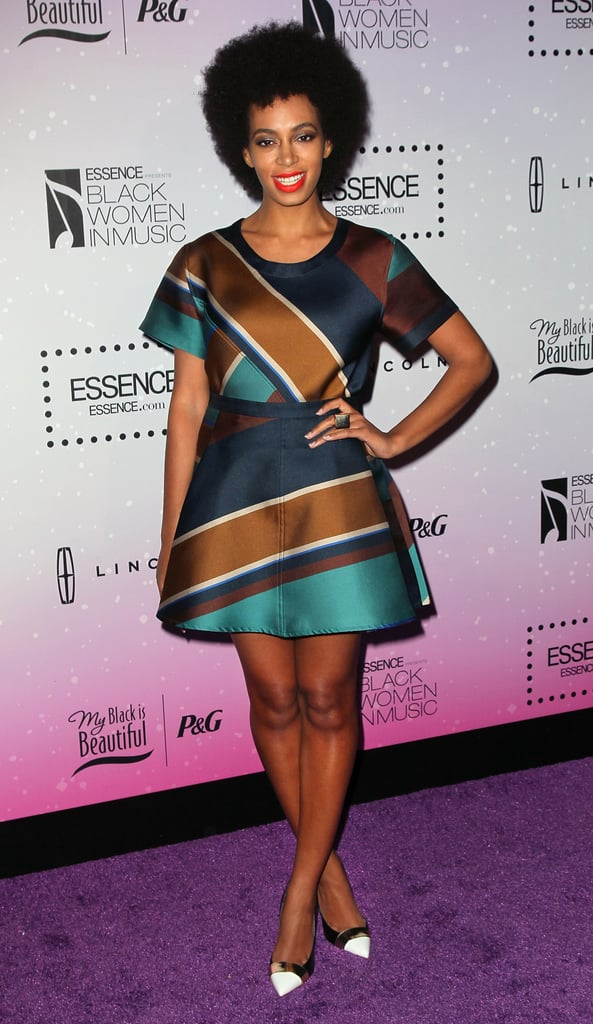 At the 2013 Essence Black Women in Music event in LA, Solange kept her love of prints going in an Ostwald Helgason minidress and Nicholas Kirkwood cap-toe pumps.