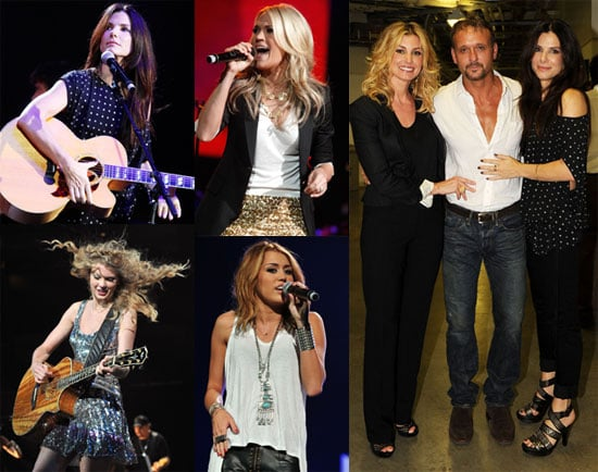Pictures of Sandra Bullock, Taylor Swift, Miley Cyrus, Carrie Underwood, and More at the Nashville Rising Concert 2010-06-23 08:30:00