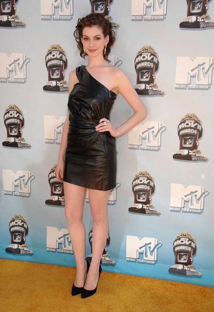 Anne Hathaway wore a black leather dress to the awards in 2008.
