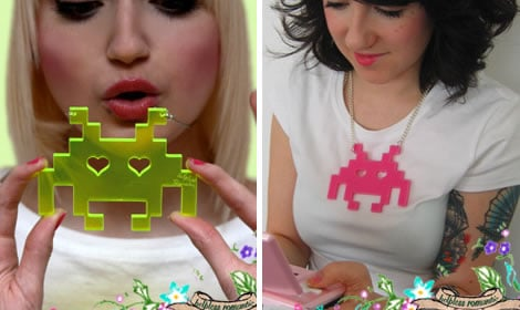 Totally Geeky or Geek Chic? Space Invaders Necklace