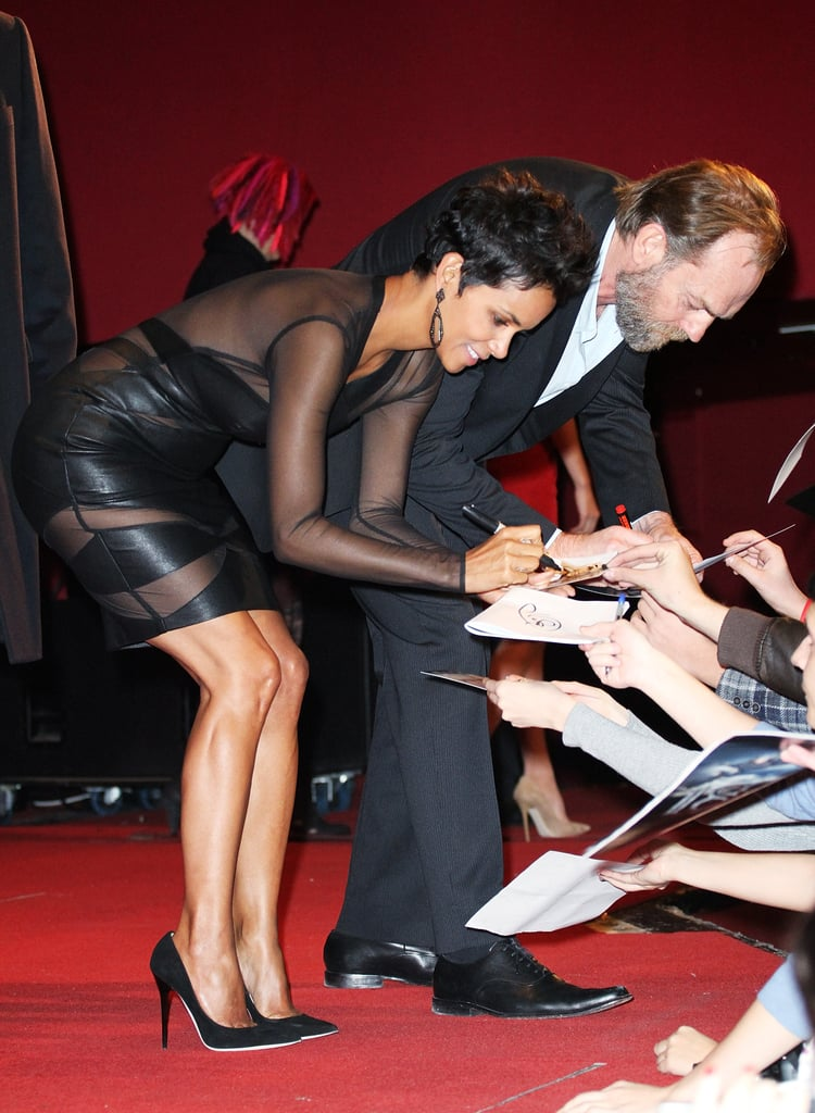 Halle Berry greeted fans.