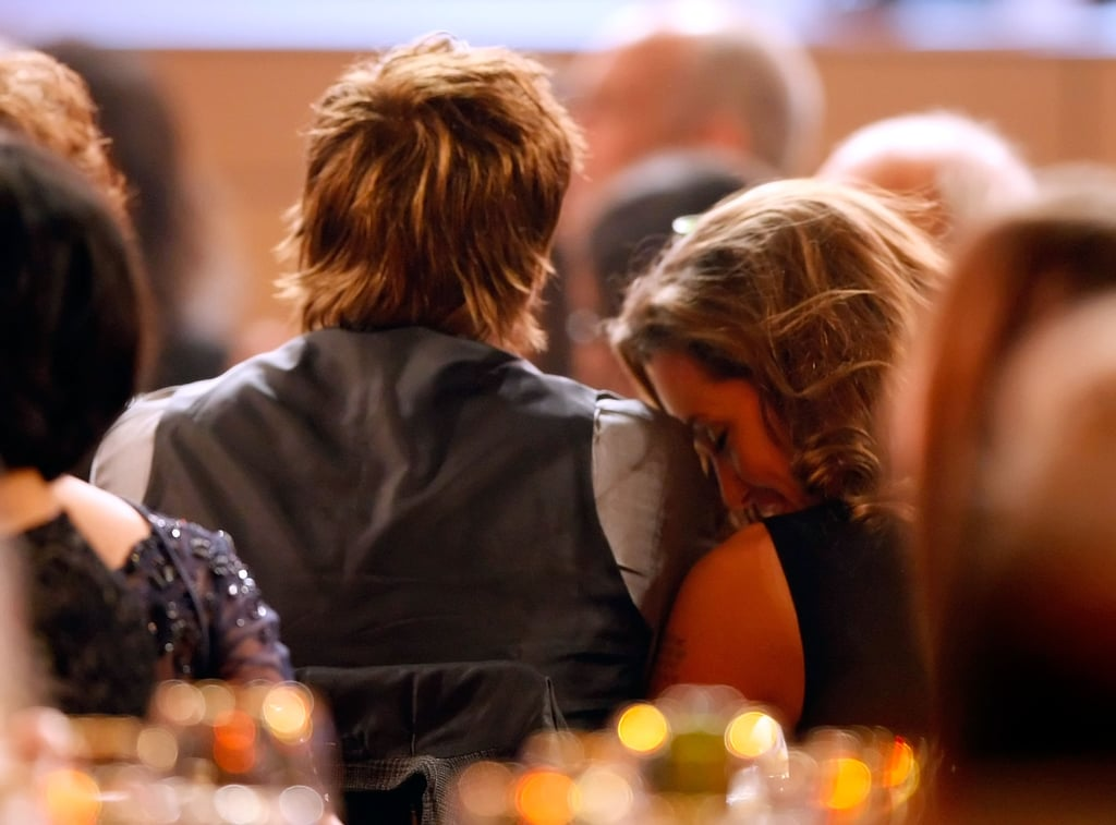 Angelina Jolie rested her head on Brad Pitt's shoulder at the13th annual Critics' Choice Awards in January 2008.