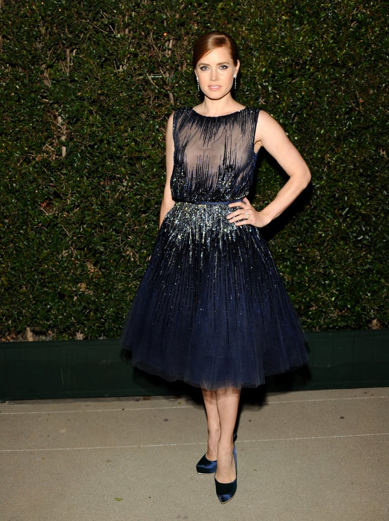 Not to be outdone by the other guests at Ferragamo's inaugural gala for the Wallis Annenberg Center For the Performing Arts, Amy Adams stuck to the night's theme of sparkle in a navy Elie Saab cocktail dress and Marina B sapphires.