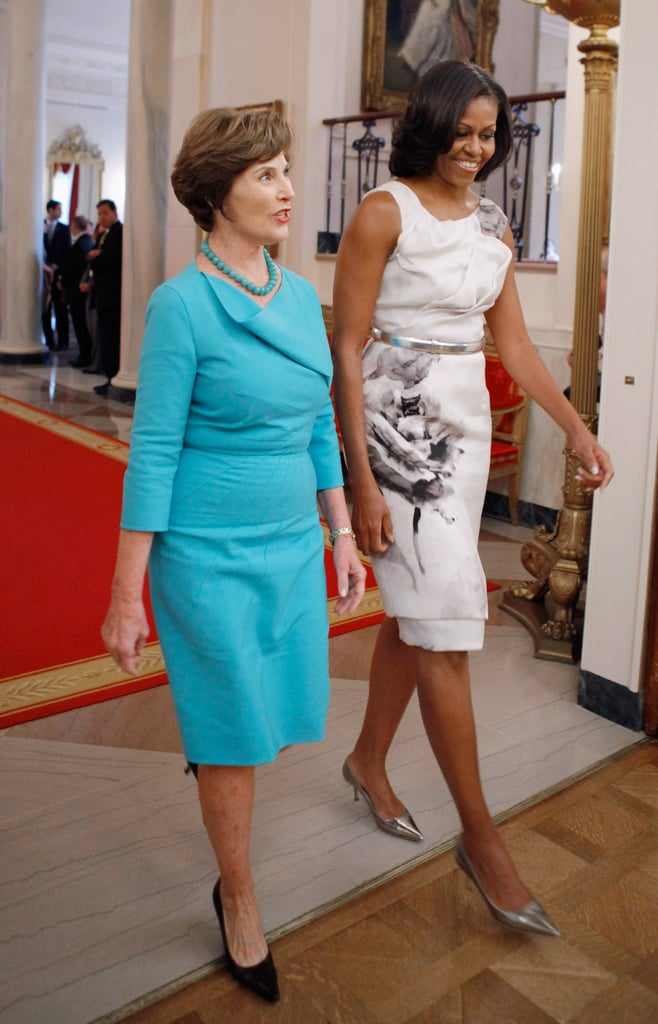 Michelle's black-and-white floral Prabal Gurung dress stole the show at a White House event with Laura Bush.