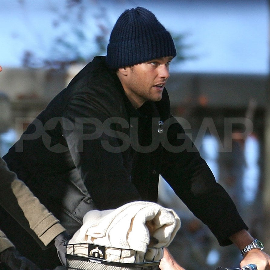 Tom Brady covered up his famous hair with a hat.