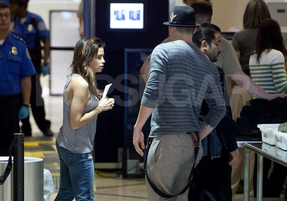 Channing Tatum and Jenna Dewan both wore stripes at the Los Angeles airport.