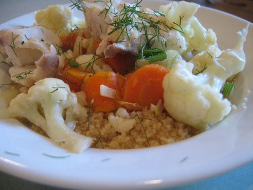 Healthy Recipe: Poached Halibut with Fennel and Cauliflower