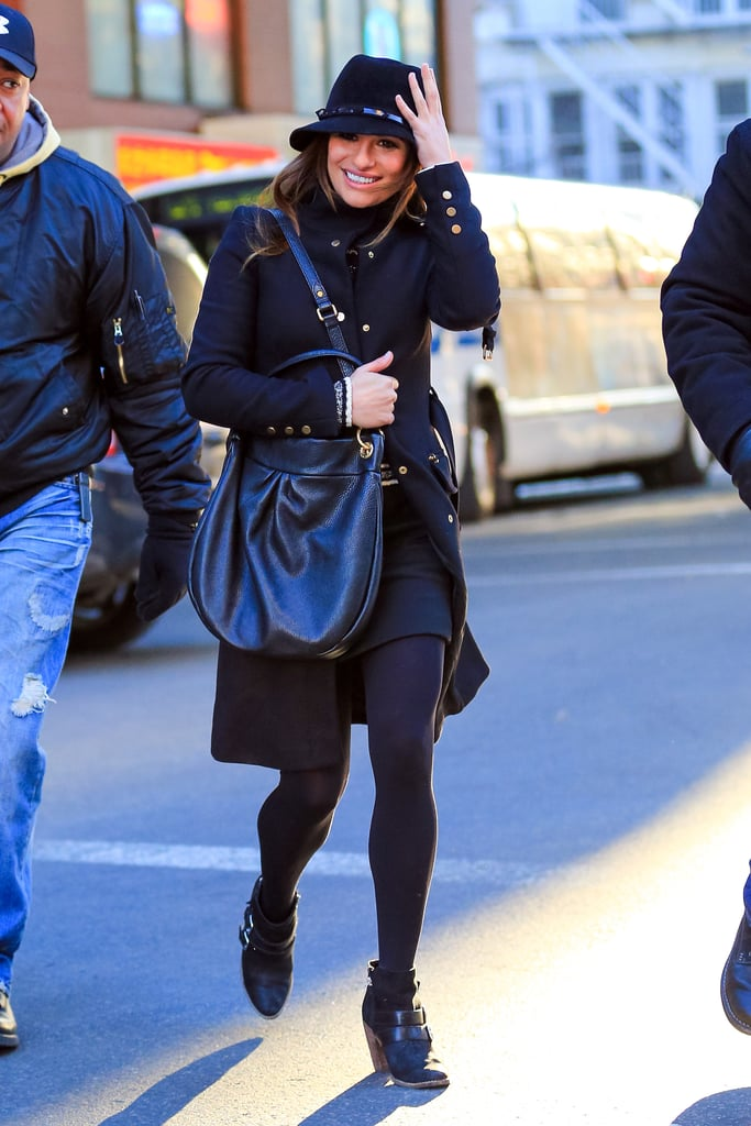 On Thursday, Lea Michele filmed Glee in NYC.