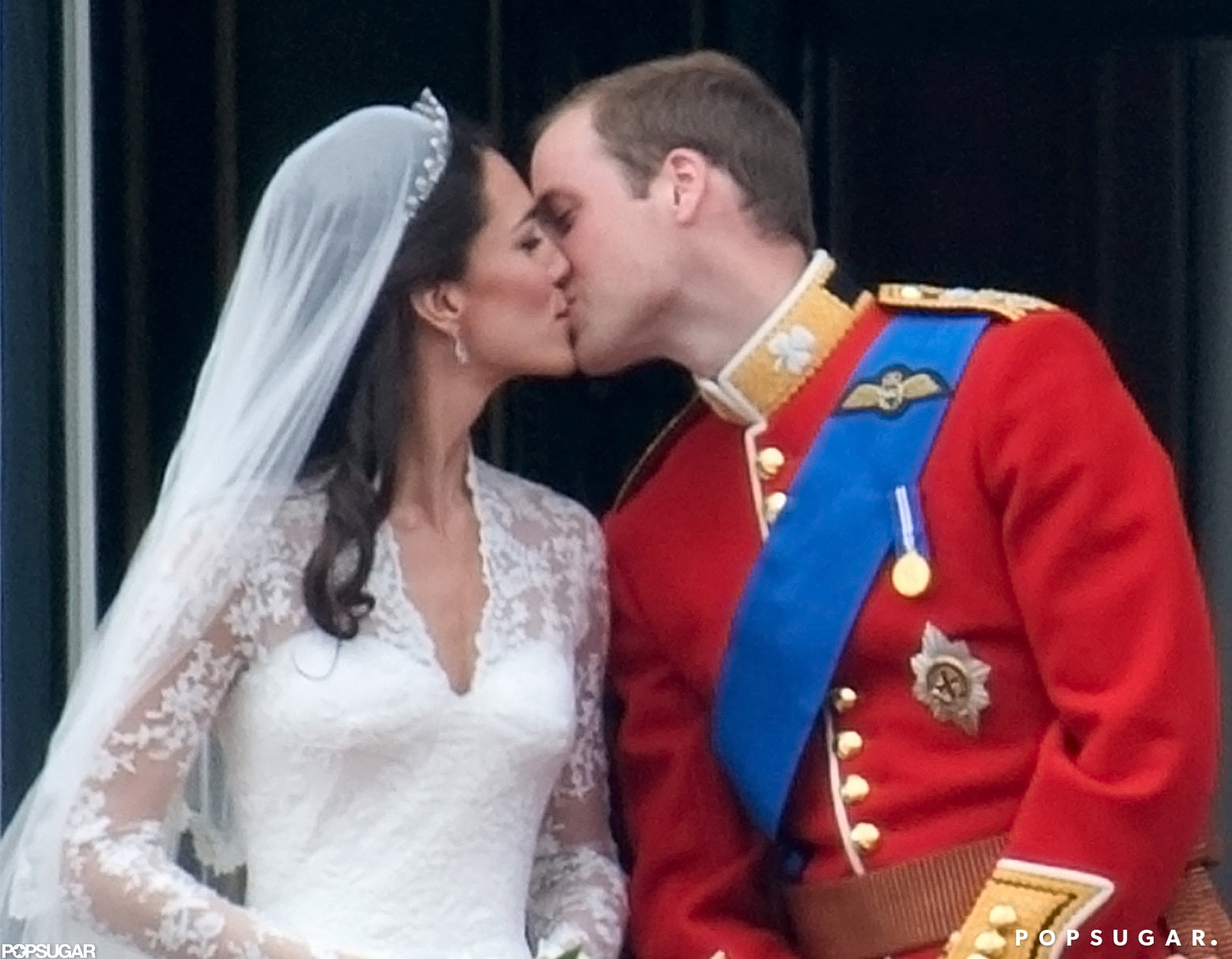 The most famous kiss goes to Kate Middleton and Prince William after their wedding on the balcony of Buckingham Palace in April 2011.