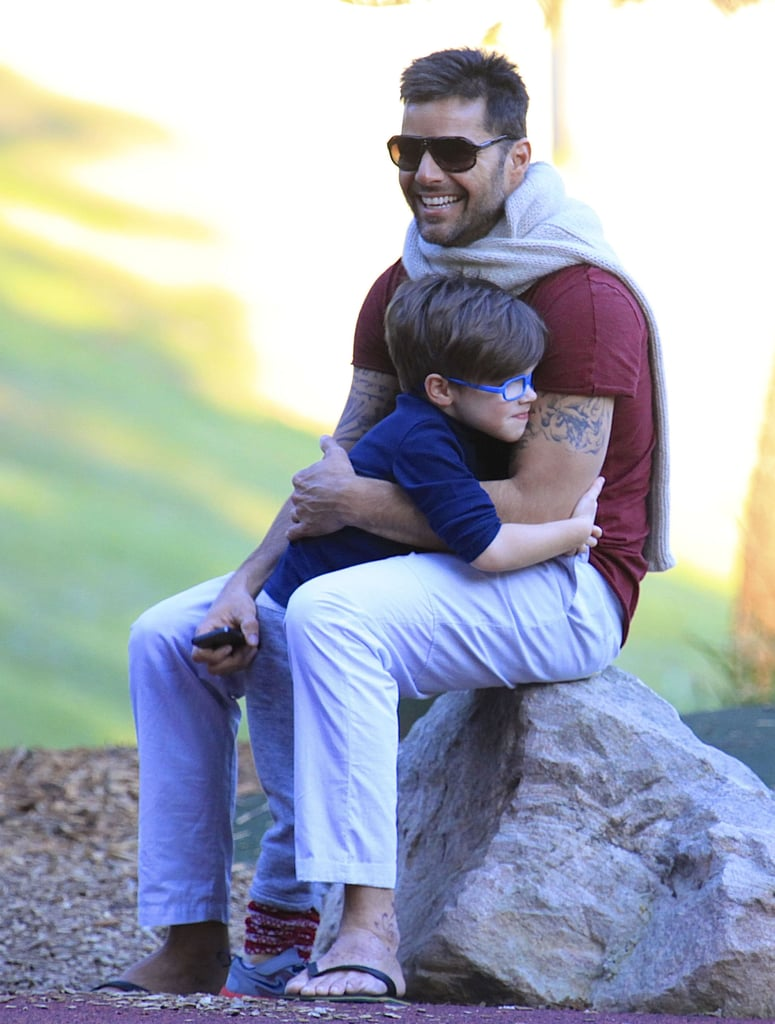 Ricky Martin hugged his son during a visit to a park in Sydney back in May.